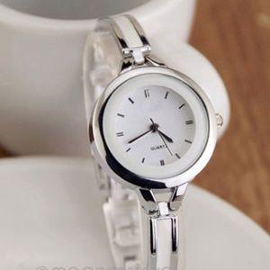 Silver and White Cuff Bangle Quartz Wrist Watch